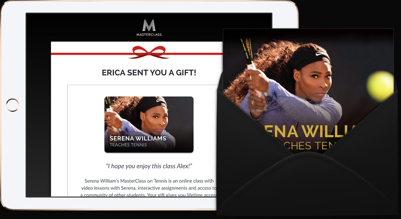 Example of a physical gift card and digital eGift card for Serena William's MasterClass on tennis